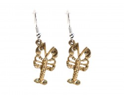 Gold Crawfish Hook Earrings