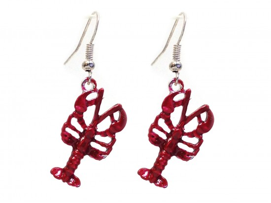 Red Crawfish Hook Earrings