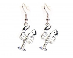 Silver Crawfish Hook Earrings