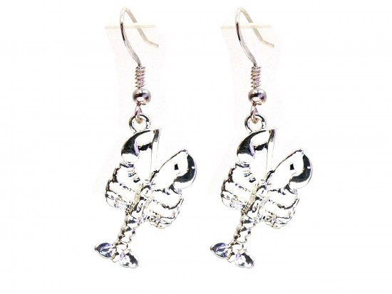Silver Crawfish Hook Earrings