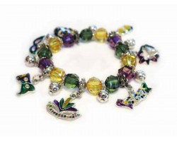Mardi Grass Theme Charm Stretch Bracelet