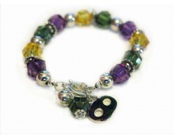 Mardi Gras Lucite Crystal Toggle Charm Bracelet
