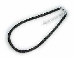 "16"" Black Braided Thick Leatherette Cord Necklace"