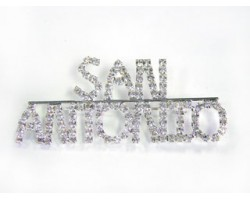 Silver San Antonio Brooch All Crystal Letters