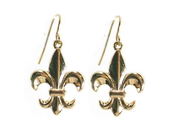 Gold Plain Fleur-De-Lis Hook Earrings