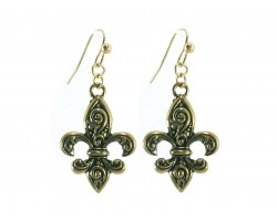 Gold Fleur De Lis Filigree Hook Earrings