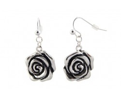 Silver Rose Fish Hook Earrings