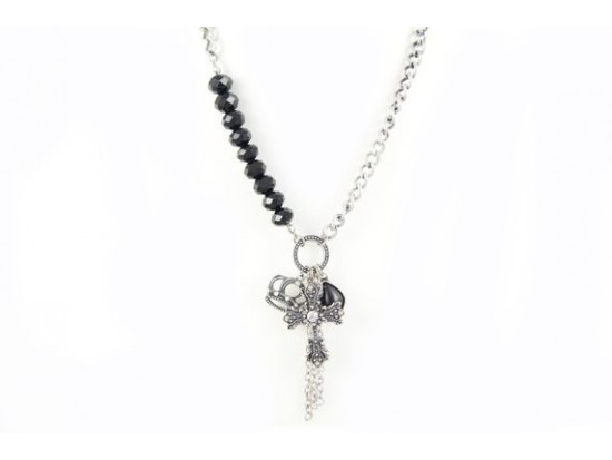 Silver Black Crystal Cross Charm Necklace