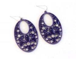 Purple Fleur De Lis Crystal Oval Hook Earrings