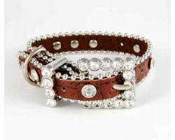 "11"" Brown Patten Leather Clear Crystal Studded Dog Collar"