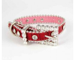 "11"" Red Patten Leather Clear Crystal Studded Dog Collar"