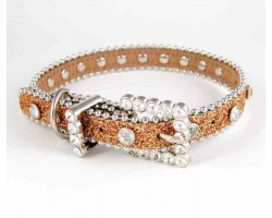 "15"" Gold Glitter Clear Crystal Studded Dog Collar"