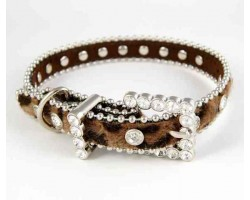 "15"" Brown Leopard Fur Clear Crystal Studded Dog Collar"