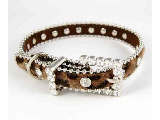 "15"" Brown Leopard Fur Clear Crystal Studded Dog Collar"