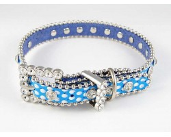 "15"" Blue Polka Dot Leather Crystal Dog Collar"