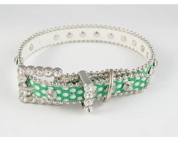 "15"" Green Polka Dot Leather Crystal Dog Collar"
