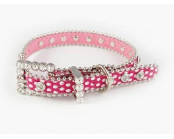 "15"" Hot Pink Polka Dot Leather Crystal Dog Collar"