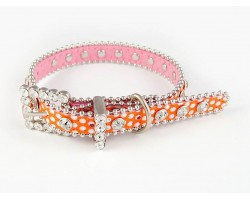 "15"" Orange Polka Dot Leather Crystal Dog Collar"