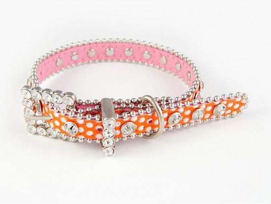 "15"" Orange Polka Dot Leather Crystal Dog Collar"