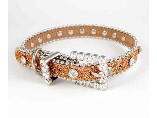 "20"" Gold Glitter Leather Clear Crystal Studded Dog Collar"