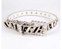 "20"" Zebra Leather Clear Crystal Studded Dog Collar"