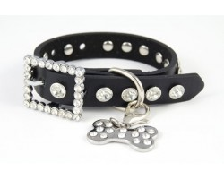 "11"" Black Leather Clear Crystal Studded Dog Collar"