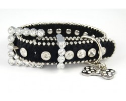 "15"" Black Fur Clear Crystal Studded Dog Collar"