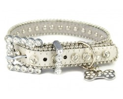 "17"" Silver Leather Clear Crystal Studded Dog Collar"