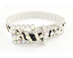 "17"" Zebra Pattern Clear AB Crystal Studded Dog Collar"
