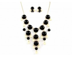 Black  & White 20mm Bubble Necklace With Gold Plate Chain