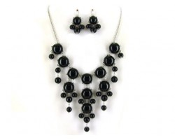 Black 20mm Bubble Necklace With Silver Plate Chain