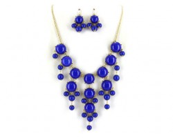 Blue 20mm Bubble Necklace With Gold Plate Chain