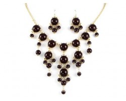 Dark Brown 20mm Bubble Necklace With Gold Plate Chain