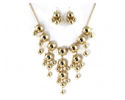 Gold 20mm Bubble Necklace With Gold Plate Chain