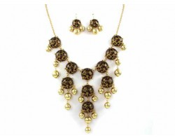 Leopard 20mm Bubble Necklace With Gold Plate Chain