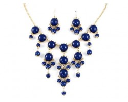 Navy 20mm Bubble Necklace With Gold Plate Chain