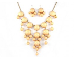 Peach 20mm Bubble Necklace With Gold Plate Chain