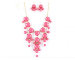 Pink 20mm Bubble Necklace With Gold Plate Chain