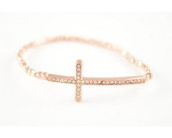Copper Bead and Crystal Cross Stretch Bracelet