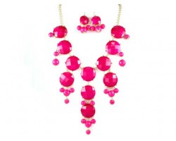 Faceted Fuchsia Bubble Necklace With Gold Plate Chain