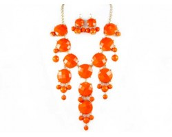 Faceted Orange Bubble Necklace With Gold Plate Chain