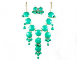Faceted Turquoise Bubble Necklace With Gold Plate Chain
