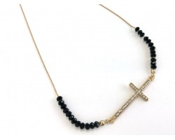 Black Crystal Gold Cross Bead Necklace
