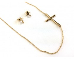 Gold Side Cross Link Chain Necklace Set