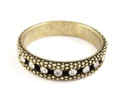Antique Gold Plate & Clear Crystal Chain Link Narrow Cuff Bracelet