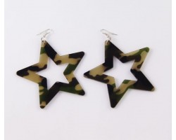 75mm Star Camouflage Dangle Hook Earrings