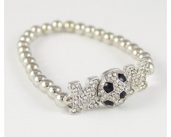 "Crystal ""Mom"" Soccer Silver Bead Stretch Bracelet"