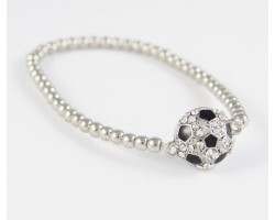 Crystal Soccer Ball Silver Bead Stretch Bracelet