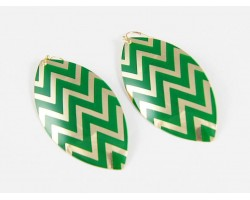 Green Chevron Gold Plate Marquise Hook Earrings