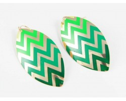 Green Shades Chevron Gold Plate Marquise Hook Earrings